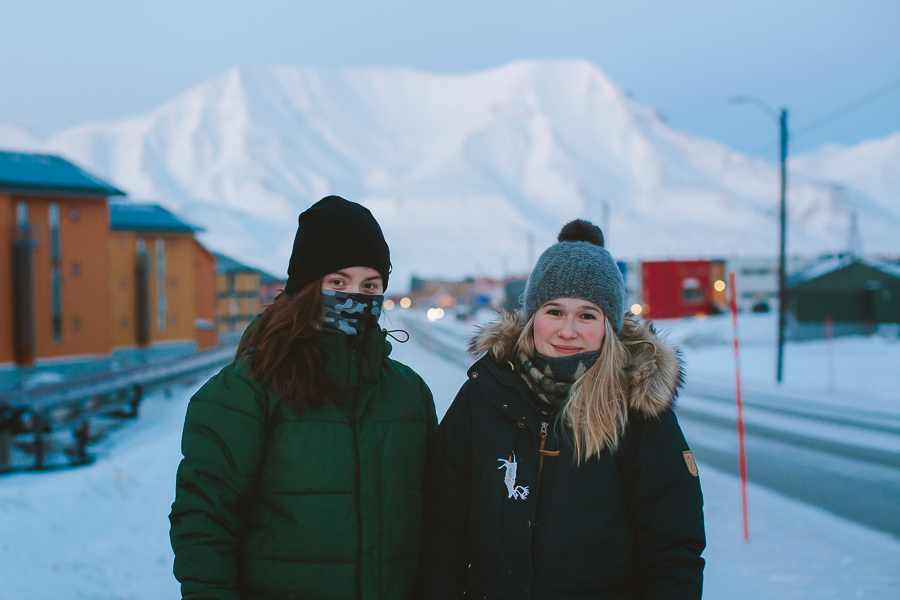 Girls walking out in the cold