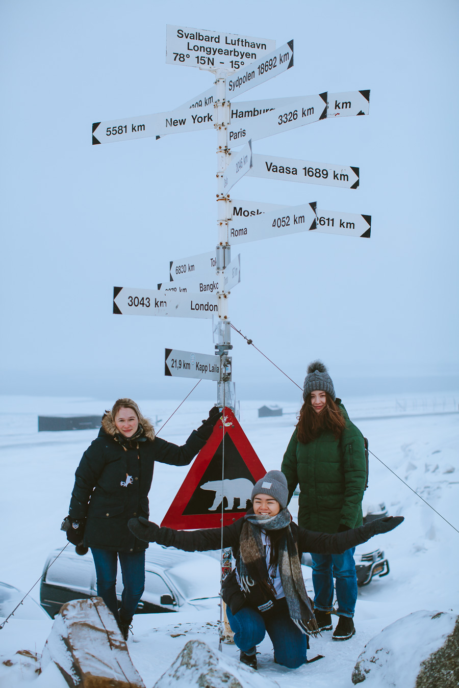 Girls by the signs on Svalbard