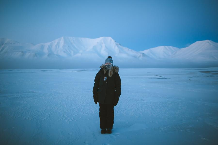 Frozen girl on Svalbard
