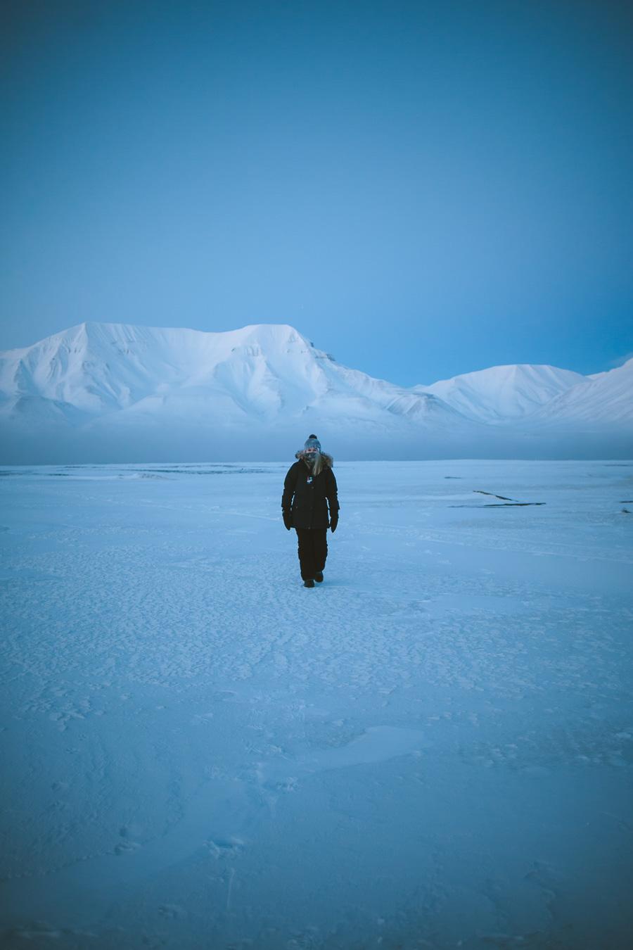 Girl walking on ice