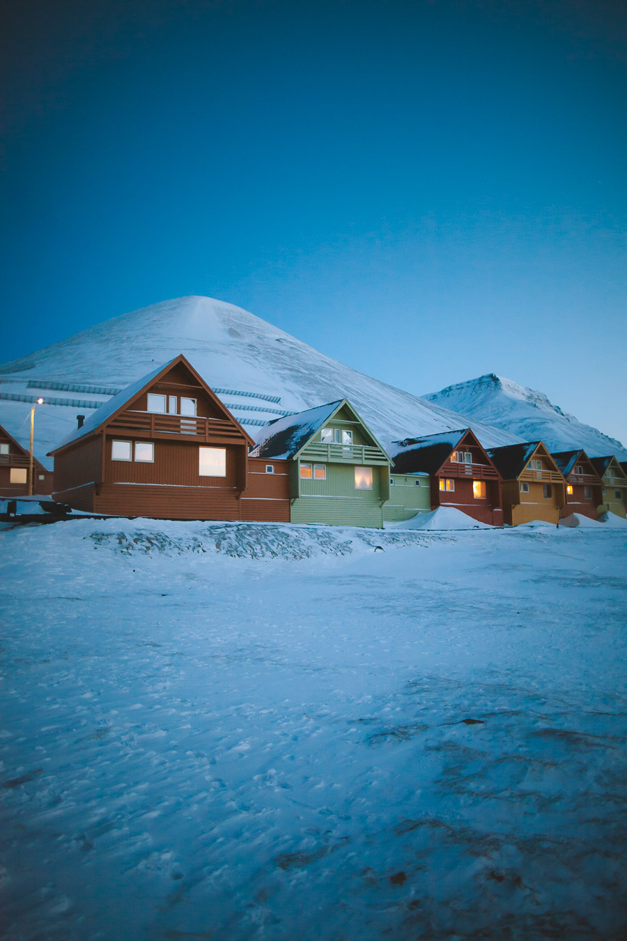 Colourful houses at night in Longyearbyen