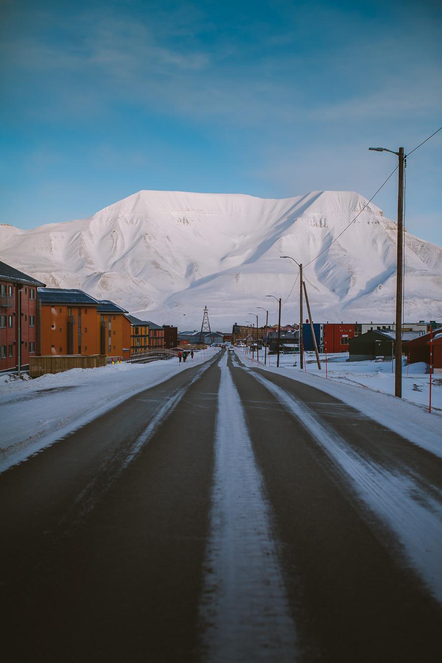 Roads of Longyearbyen on Svalbard