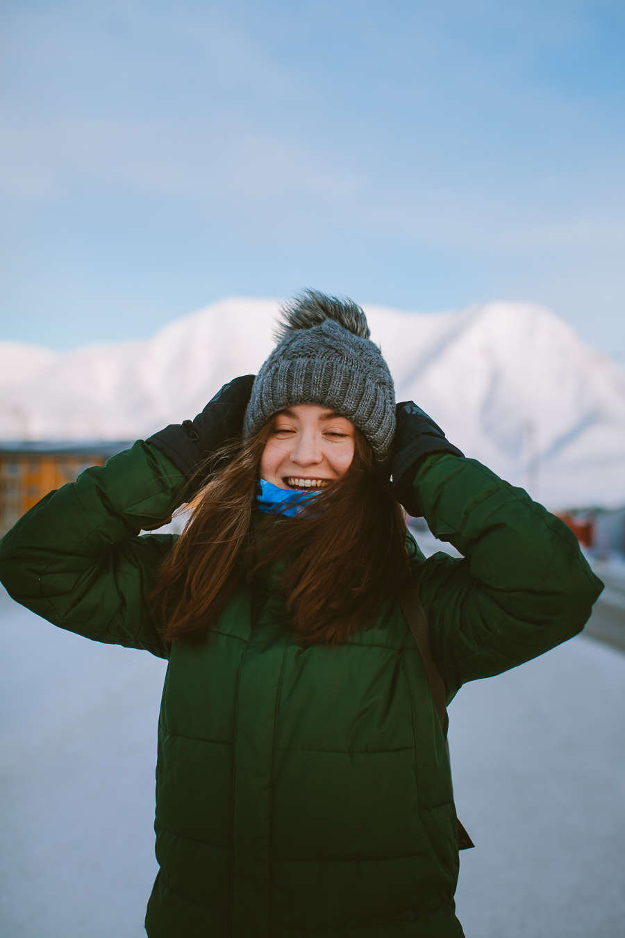 Girl laughing in the cold