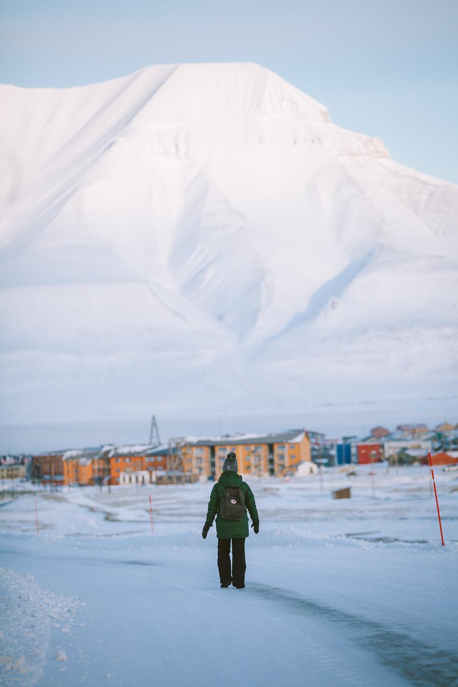 Girl walking in Longyearbyen