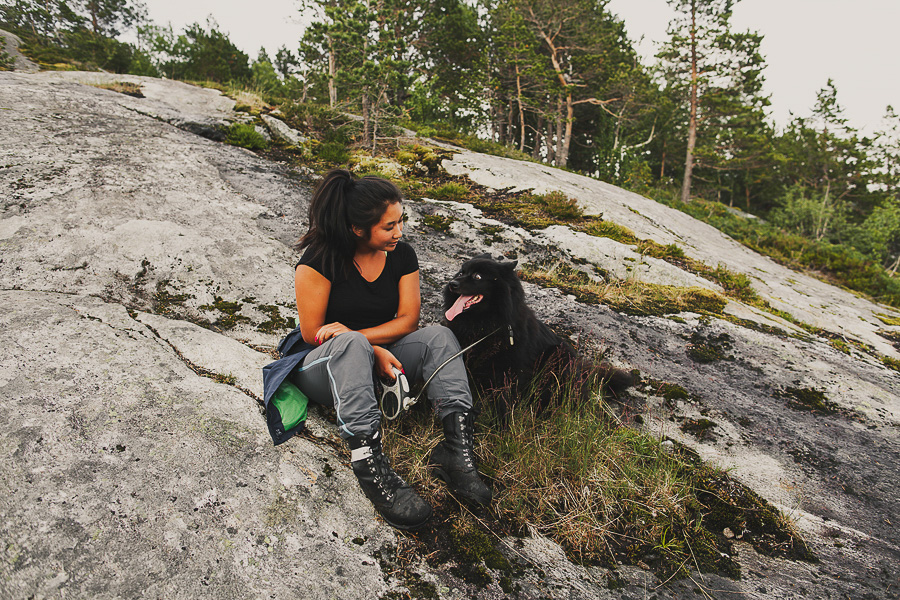 Girl and dog in nature