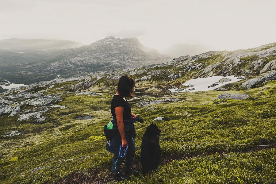 Girl and her dog hiking
