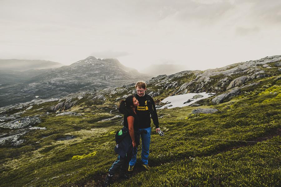 Girl and boy hiking together