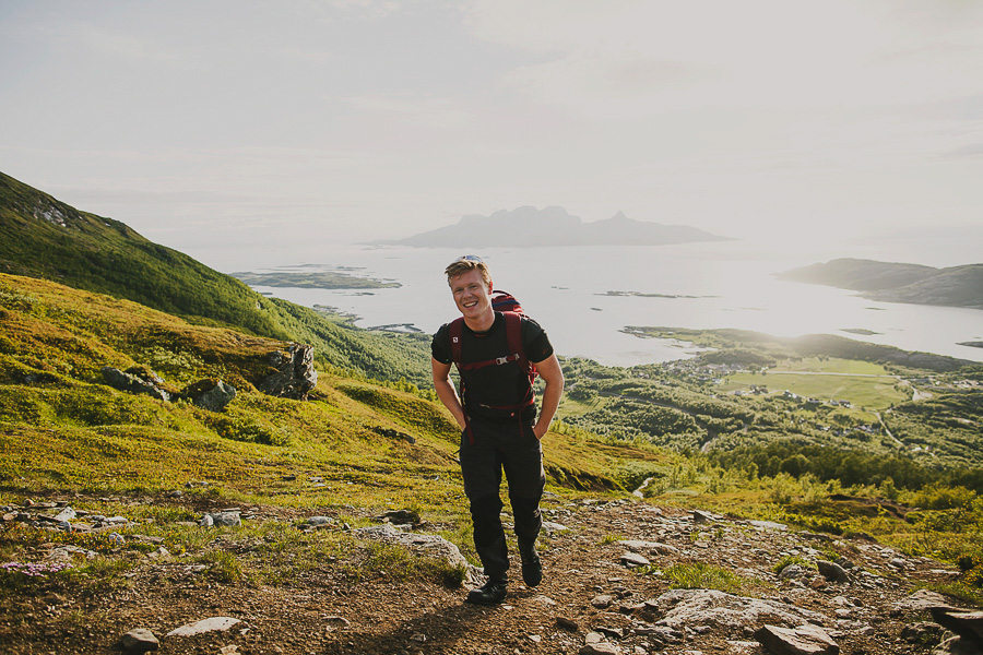 Boy smiling and hiking