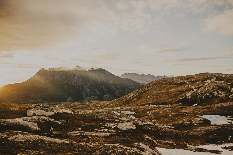 Norwegian landscape bathing in sun