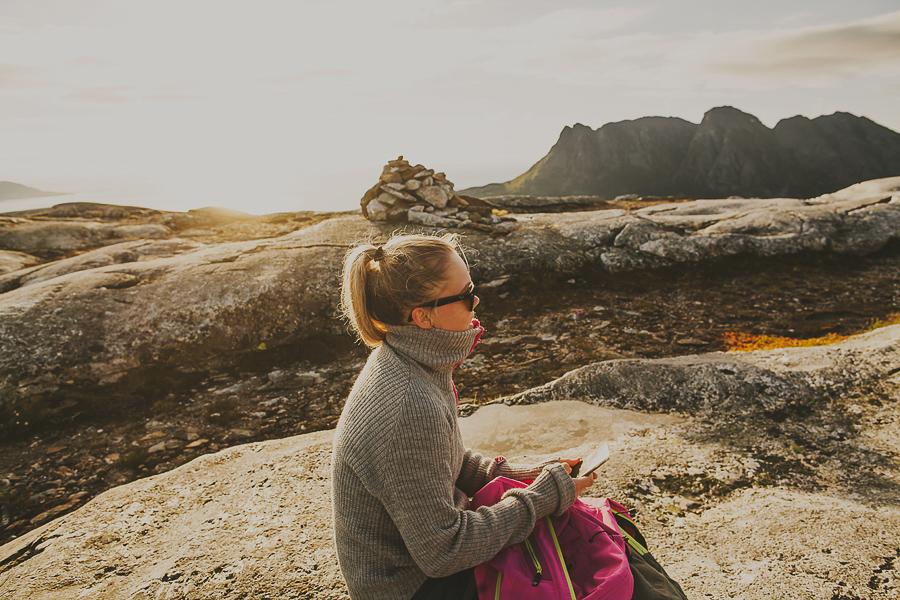 Girl taking a break on the hike