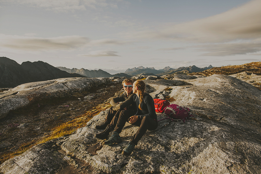 Couple on a hiking trip in the mountains