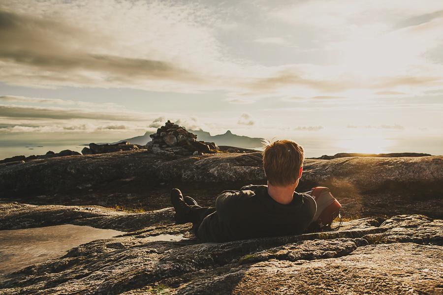 Boy enjoying the mountain view