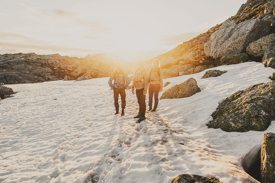 Friends hiking on a mountain