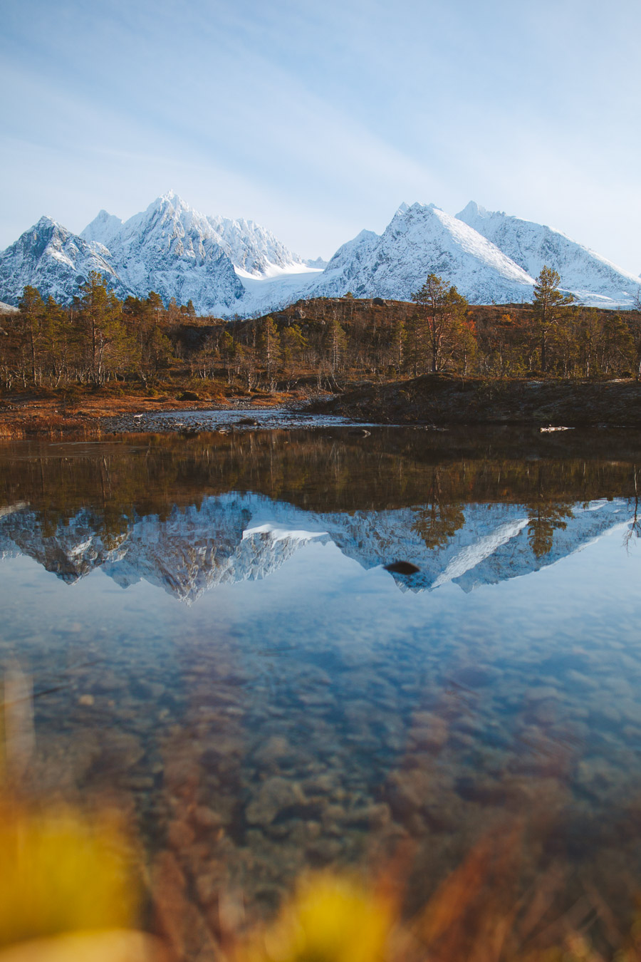 Mountains reflected in the river