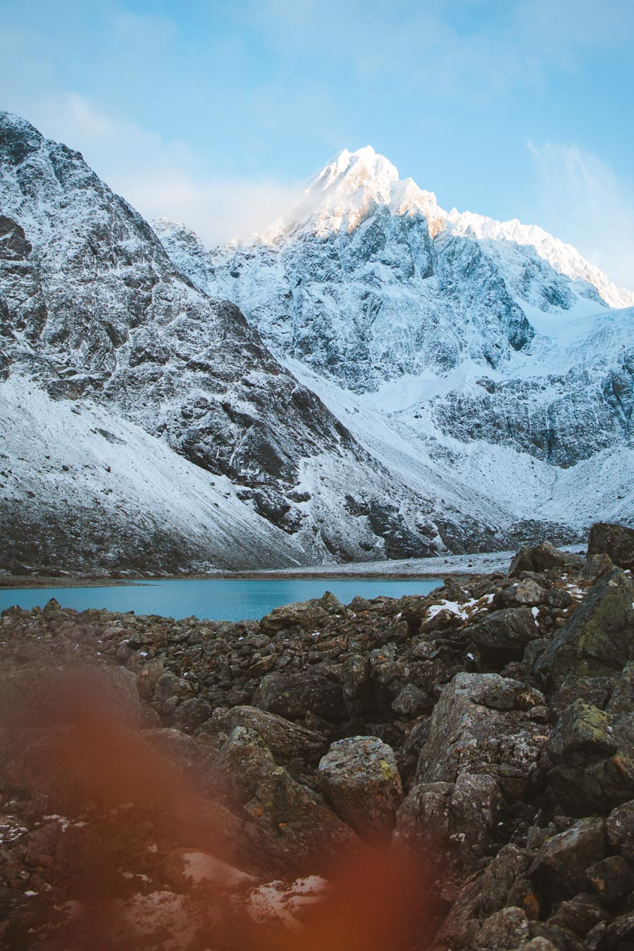 White mountains and blue lake