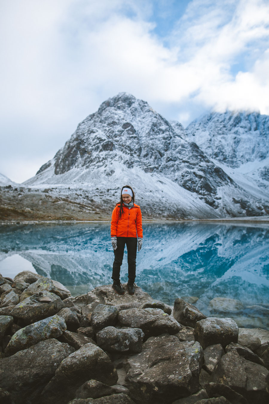 Girl in an orange jacket in front of a mirrored lake