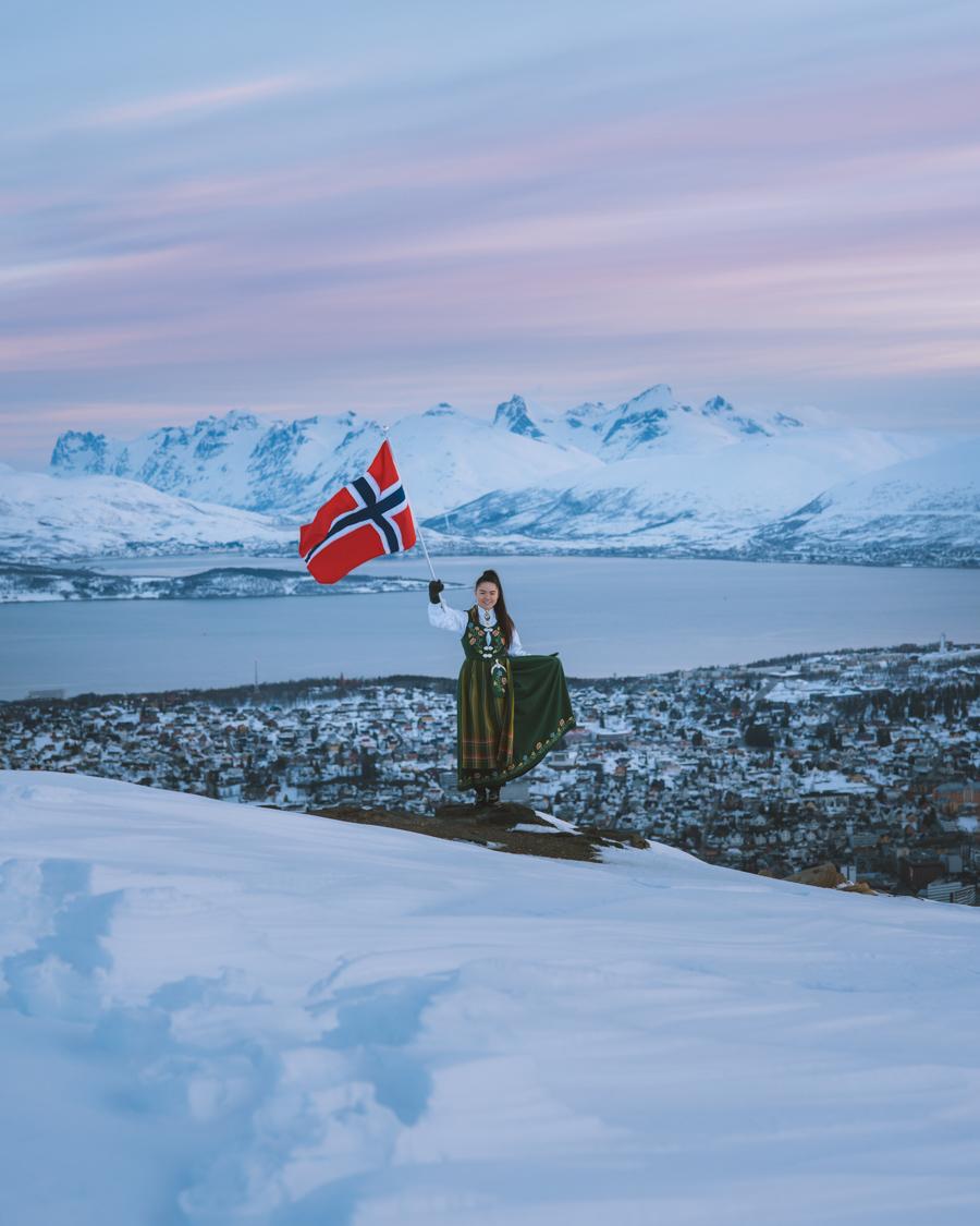 Girl waving the Norwegian flag