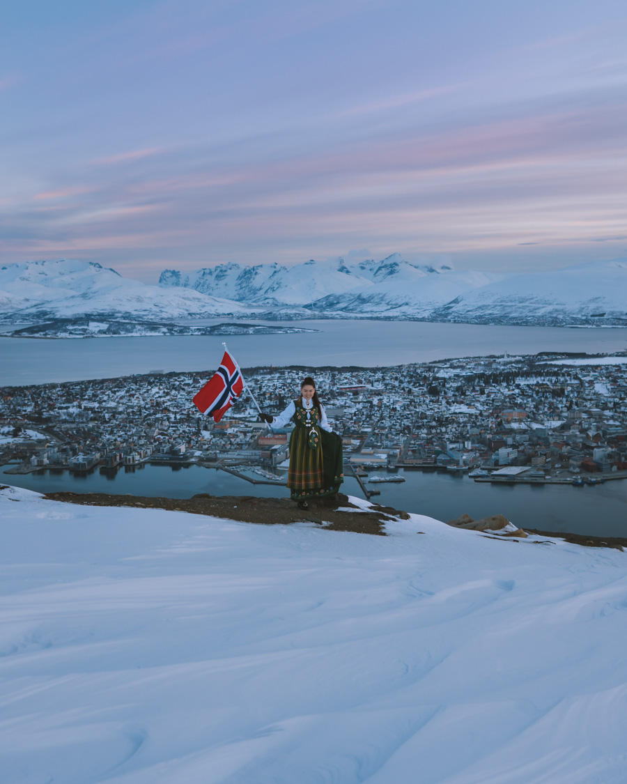 Girl wearing bunad on the Norwegian Constitution day