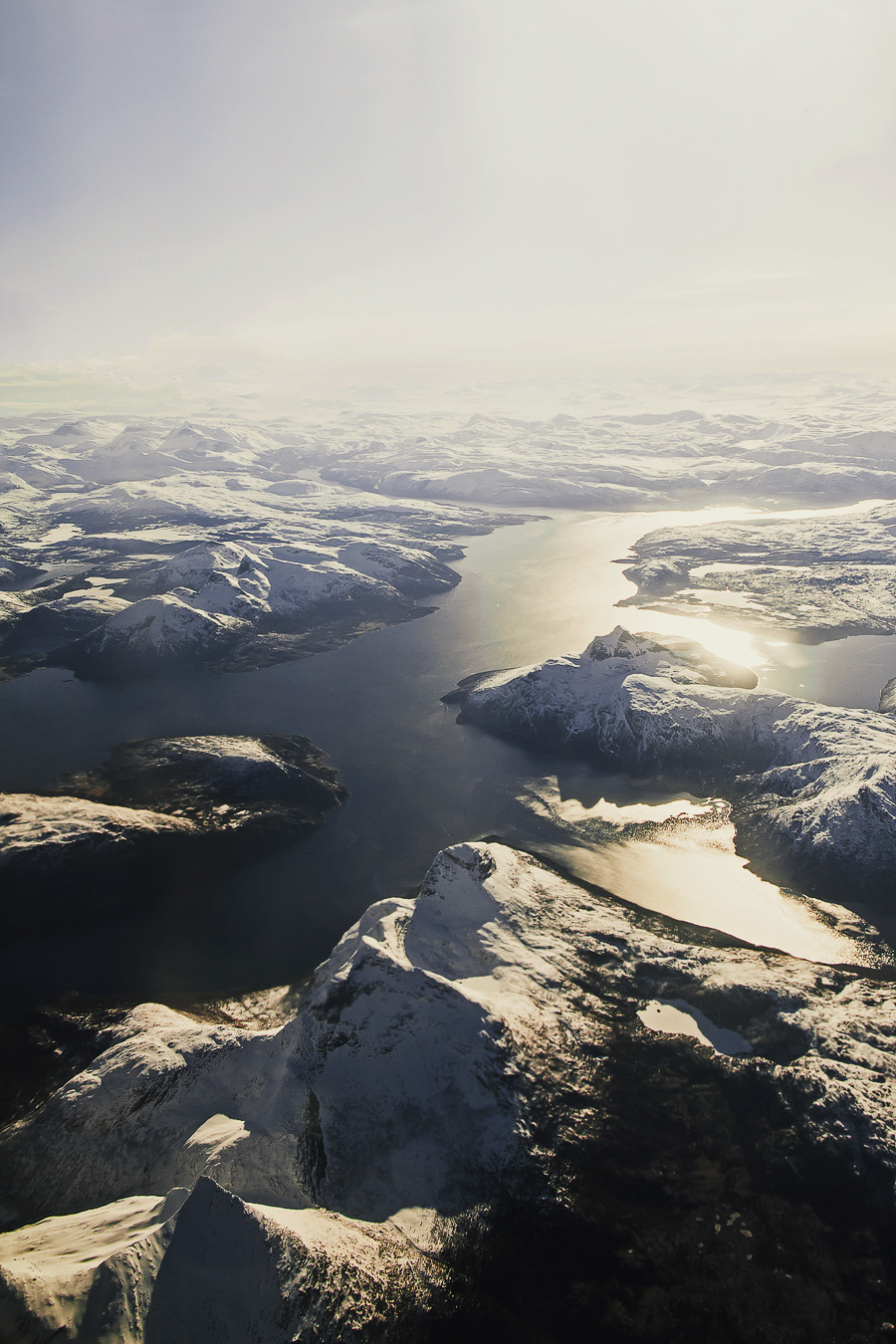 Mountains and ocean from above