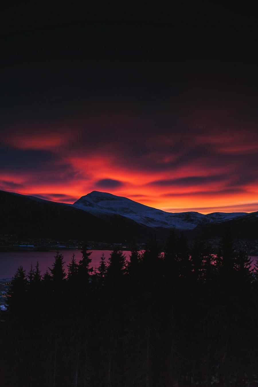 Flaming red sky in Tromsø