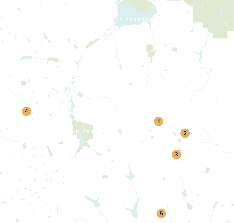 A map of Cary with neighborhood numbers and points of interest.