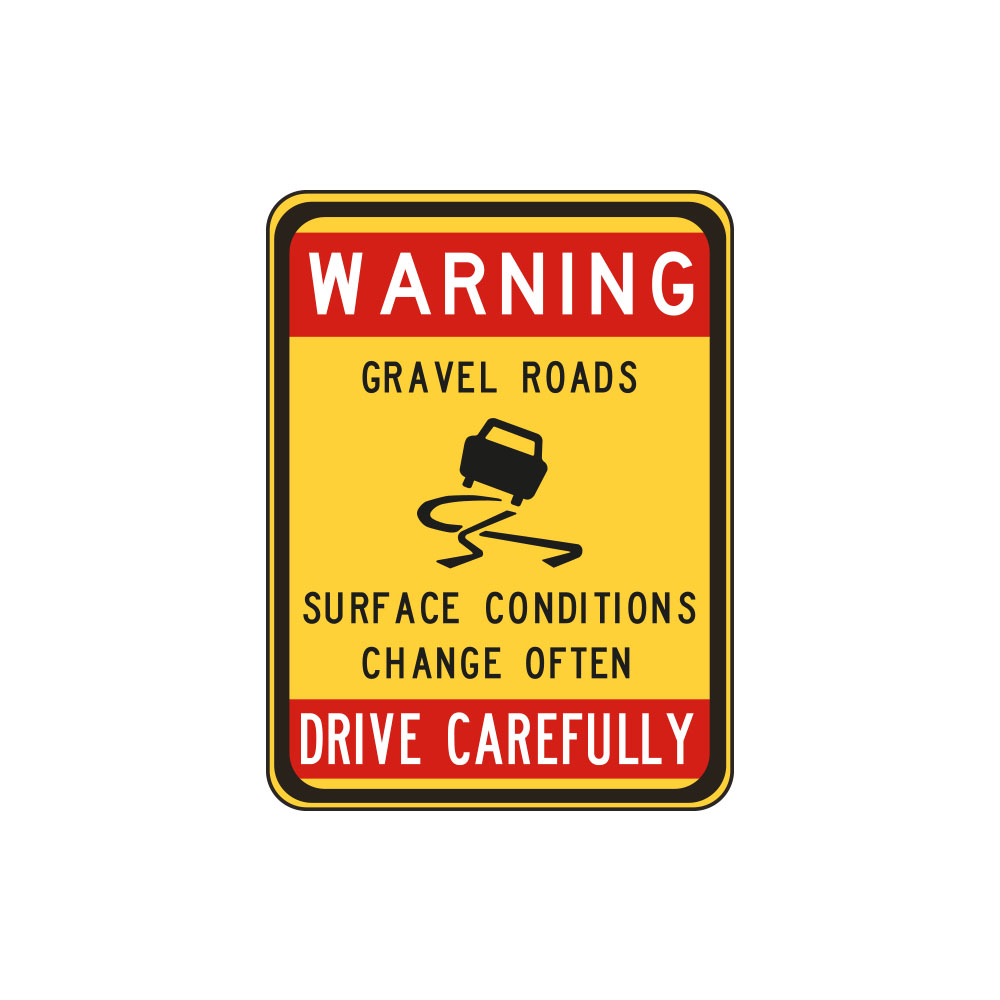 Warning Gravel Road