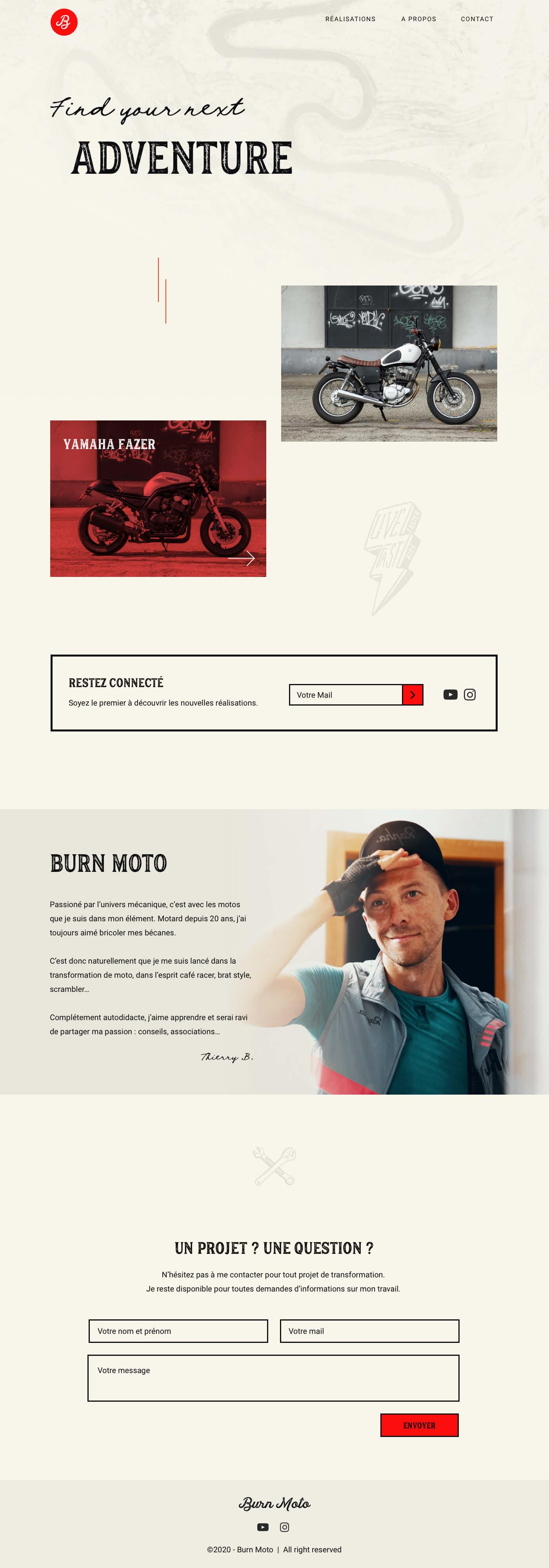 maquette de la page d'accueil du projet burn moto