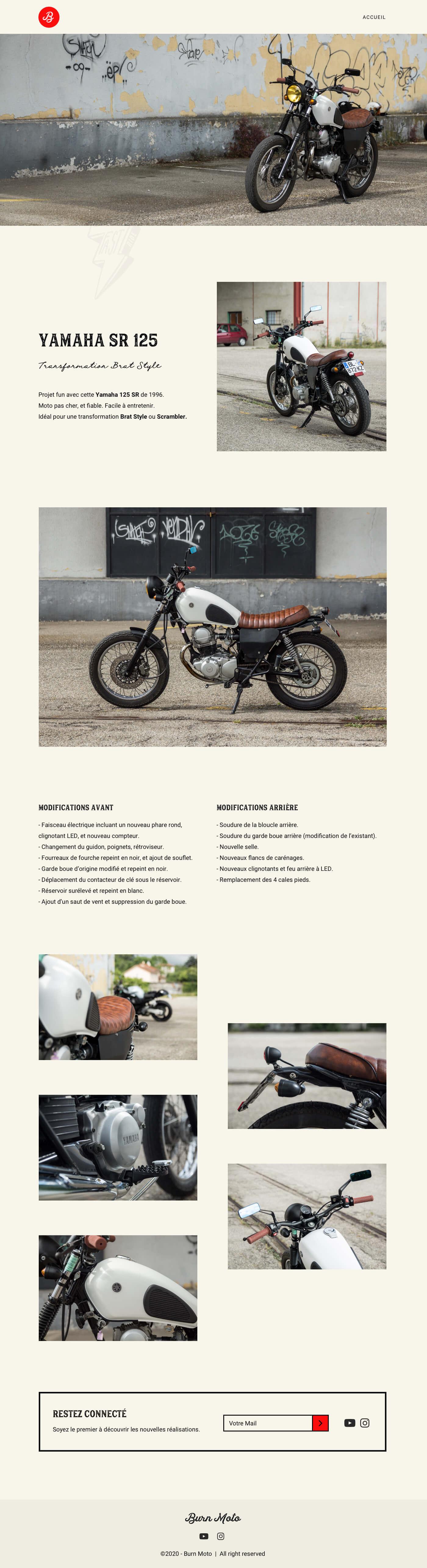 maquette de la page réalisation du projet burn moto