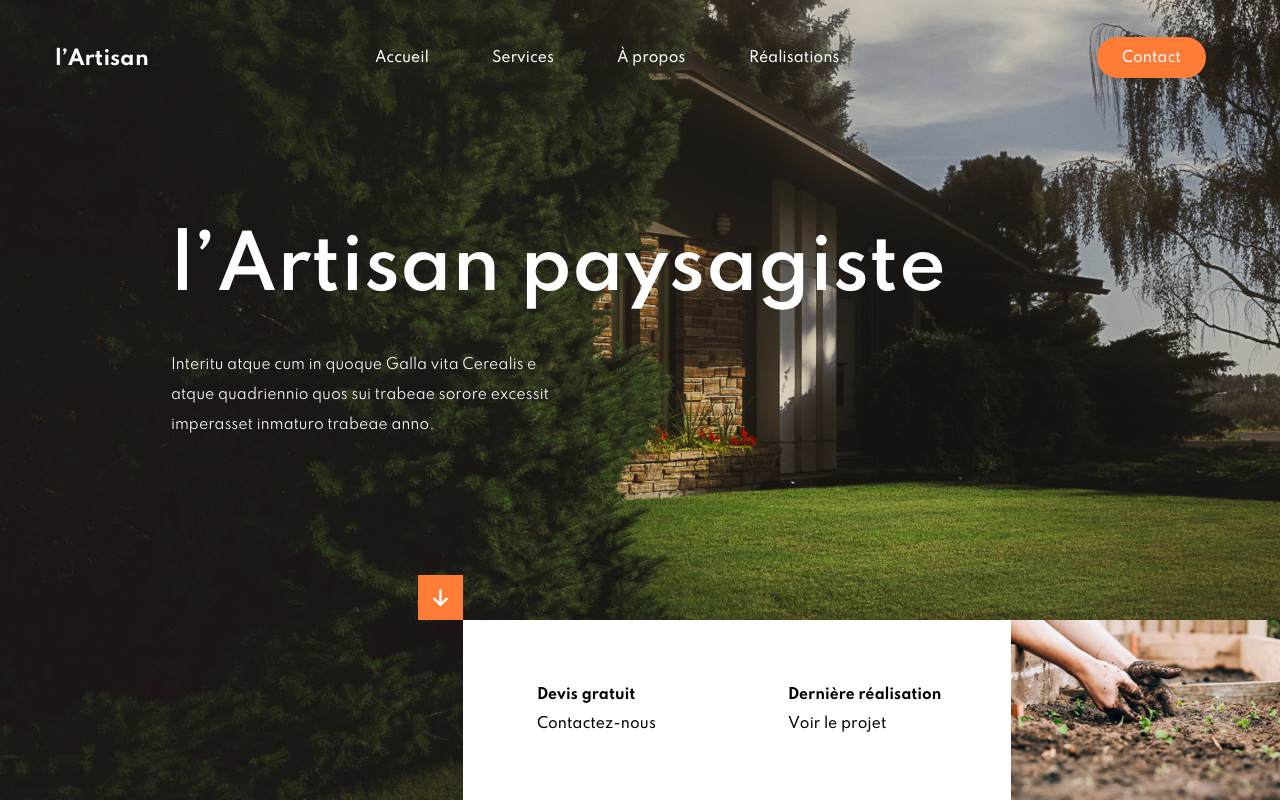 site vitrine artisan paysagiste