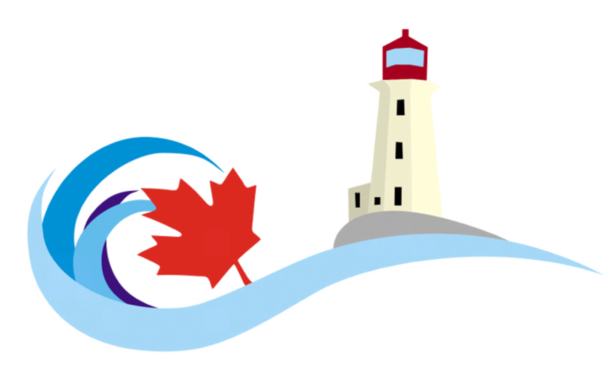 Atlantic View Motel & Cottages logo of lighthouse and ocean wave