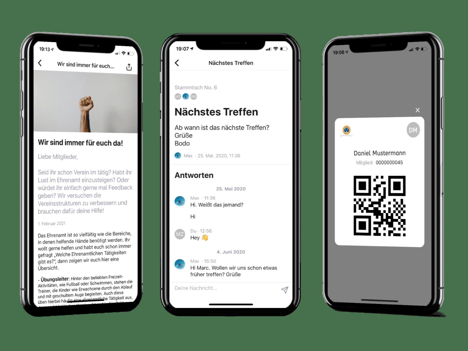 Drei Handys zeigen den Chat und den digitalen Mitgliedsausweis der Vereinsapp