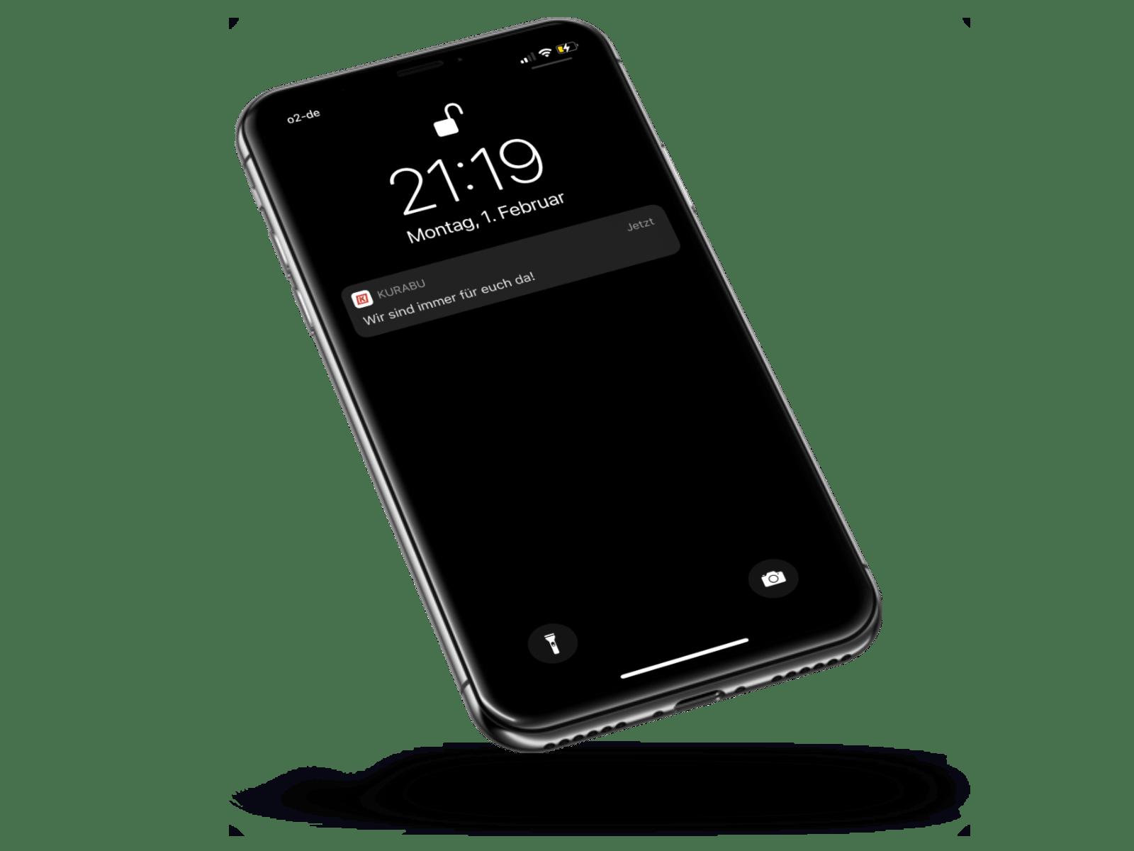 Ein Handy zeigt in gesperrtem Zustand an, dass eine neue Nachricht von der Vereinsapp erhalten wurde.