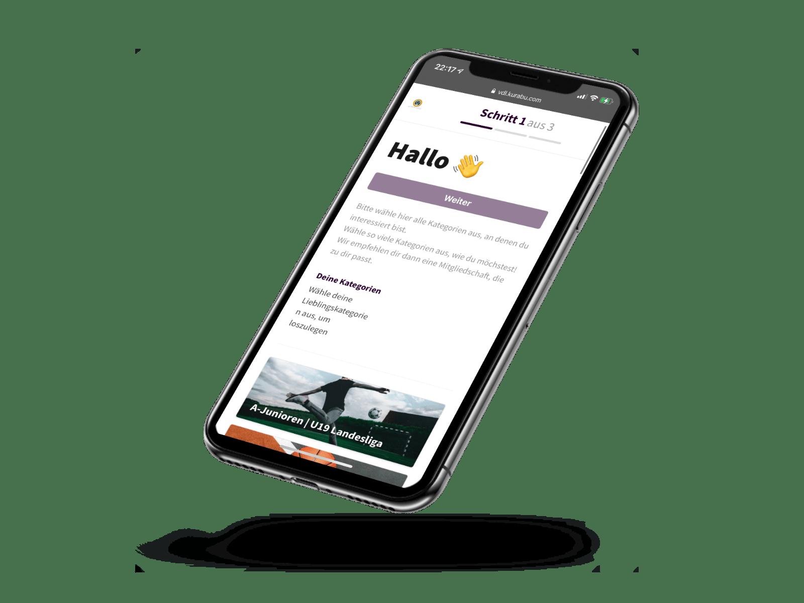 Der Online Mitgliedsantrag wird auf einem Handy dargestellt und man liest Hallo