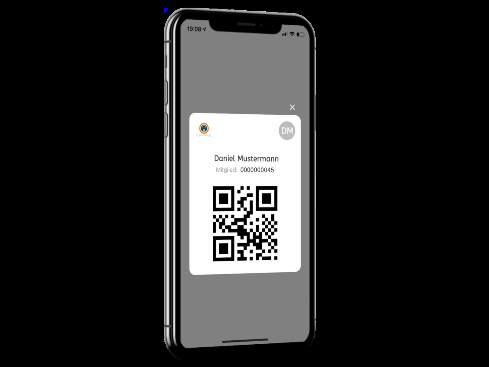 Der digitale Mitgliedsausweis mit QR-Code auf einem Handy.
