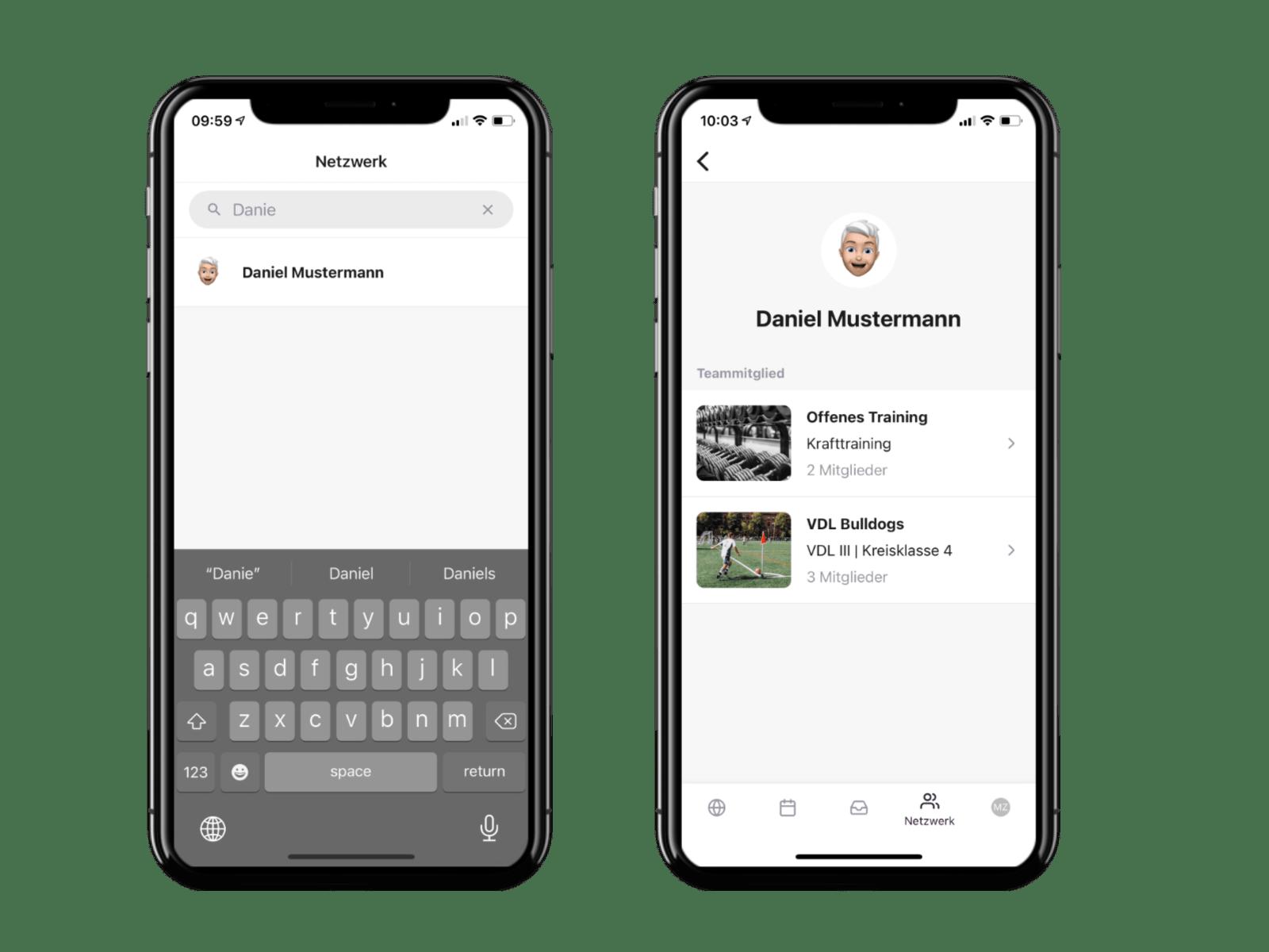 Die Vereinsapp zeigt eine Liste der Mitglieder im Netzwerk und ein Mitgliederprofil auf zwei Handys an.
