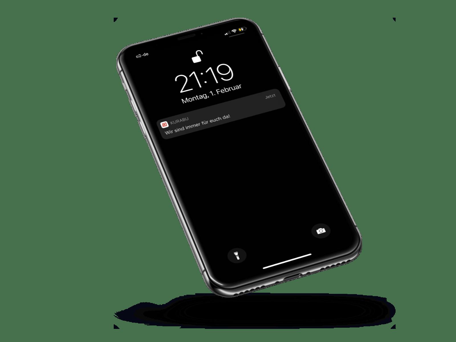 Ein gesperrtes Handy zeigt an, dass der Verein eine neue Push-Nachricht geschickt hat.