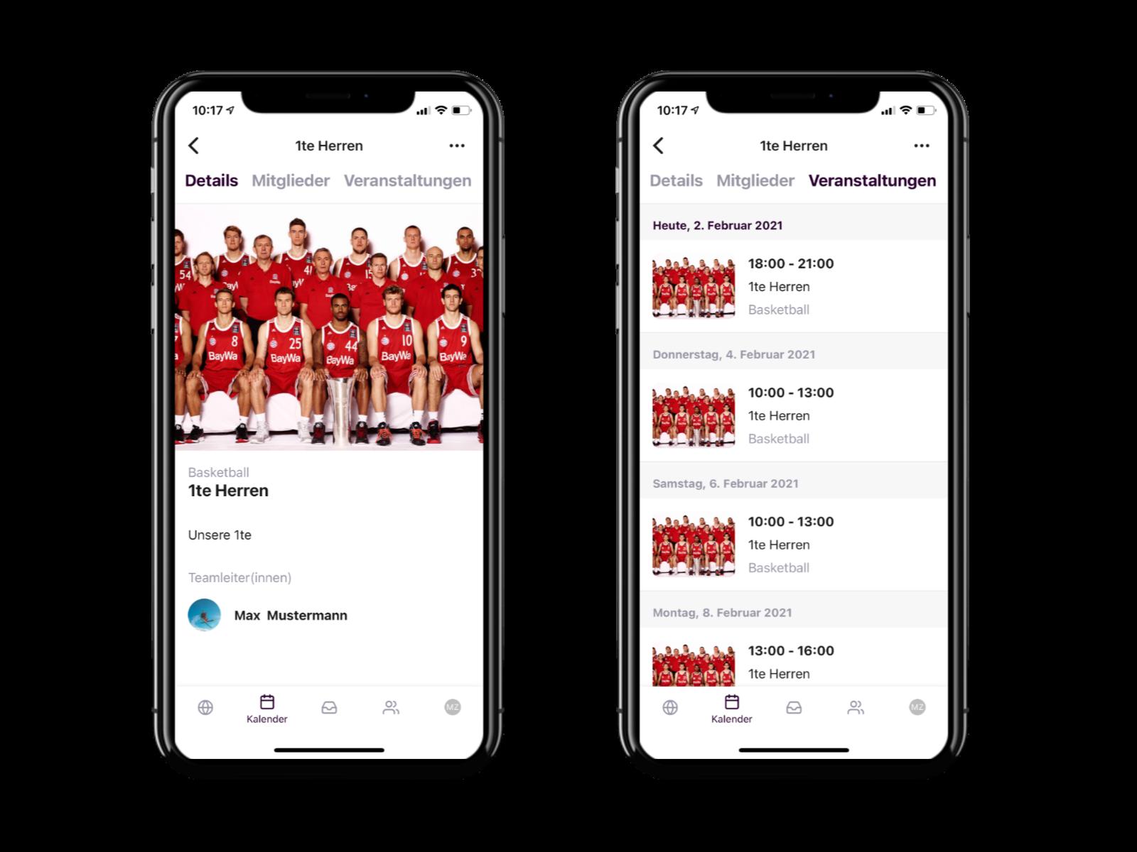 Zwei Handys zeigen die Vereinsapp. Rechts eine Ãœbersicht der Mannschaften im Verein, links eine detaillierte Ansicht eines Teams mit Texten und Bildern.