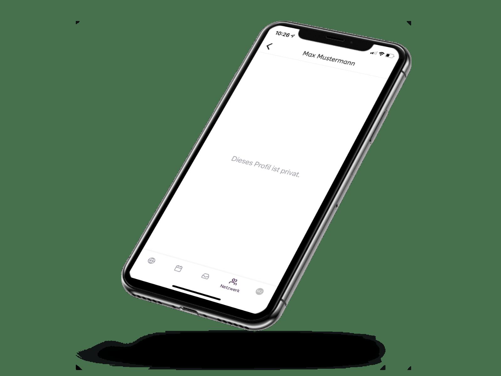 Ein Handy zeigt in der Vereinsapp ein privates Profil eines Mitglieds, wo man nichts erkennen kann.