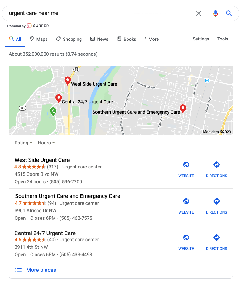 Urgent Care Google Listings