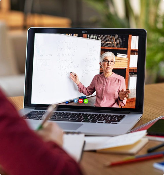 woman teaching class on computer screen