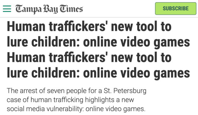 Sex Trafficking on Video Games by Tampa Bay Times