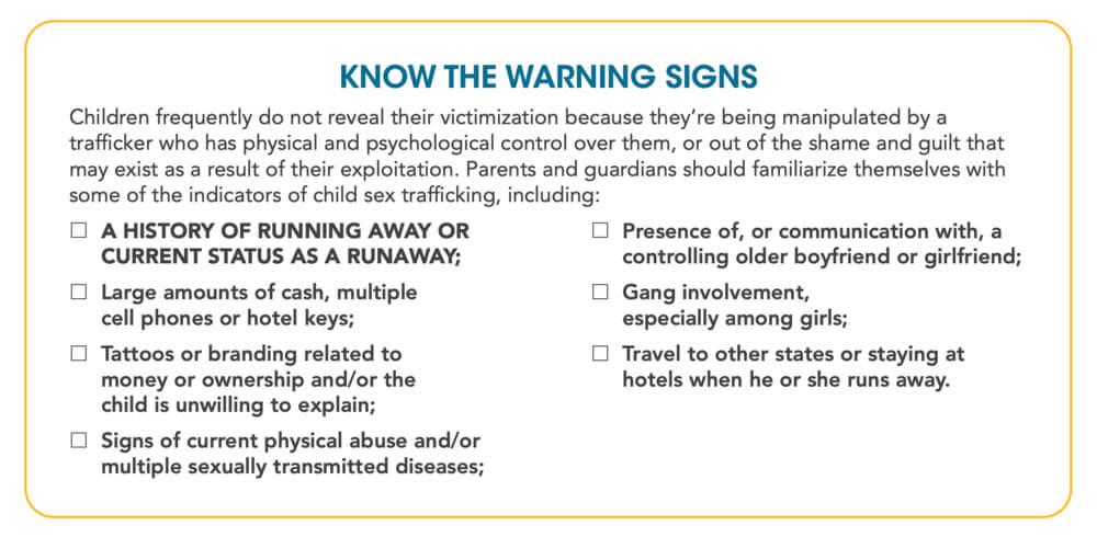 Sex Trafficking Warning Signs by NCMEC