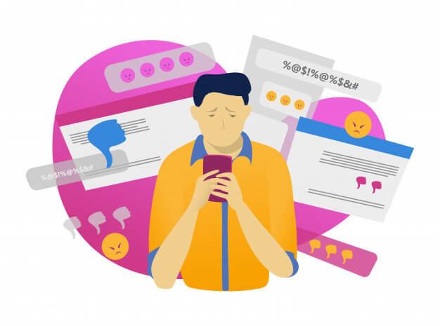 Cartoon man texting