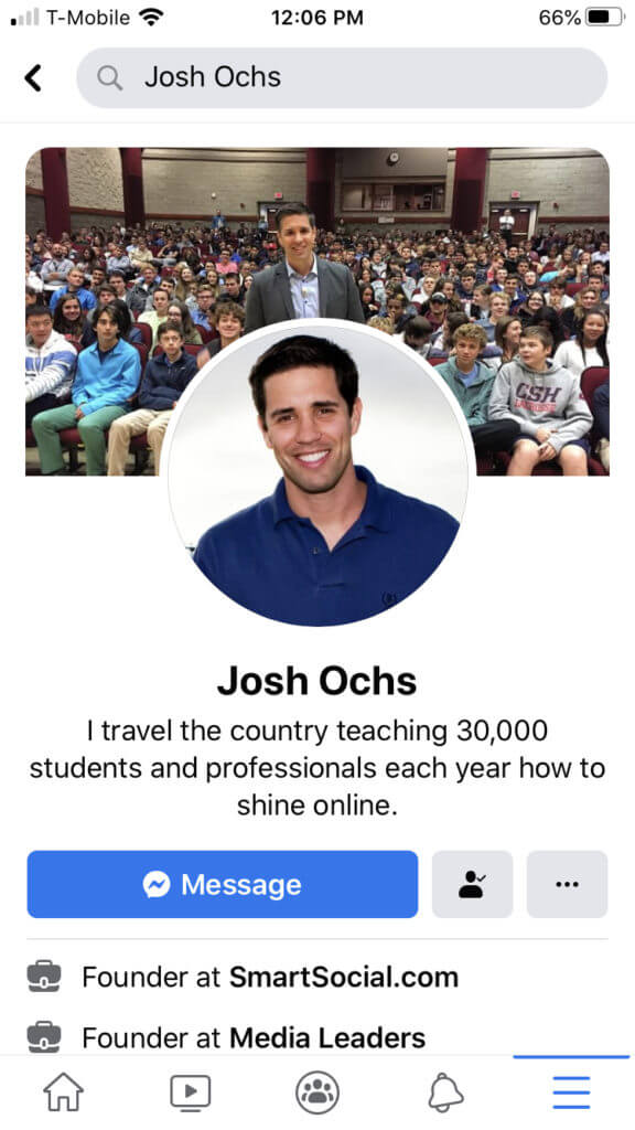 Screen shot of Josh Ochs' Facebook profile on a smart phone
