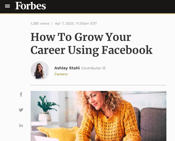Forbes headline How to Grow Your Career Using Facebook