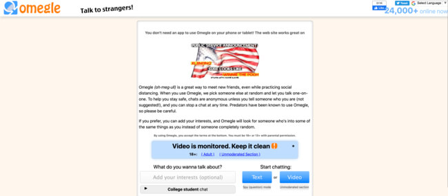 Omegle Homepage