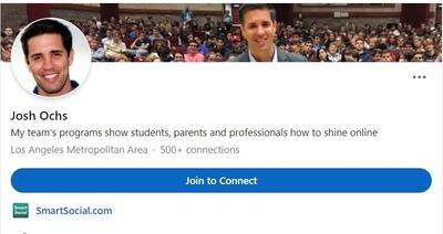 Screenshot of Josh Ochs' LinkedIn profile