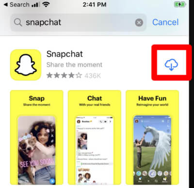 Snapchat in the Apple App Store showing download Cloud