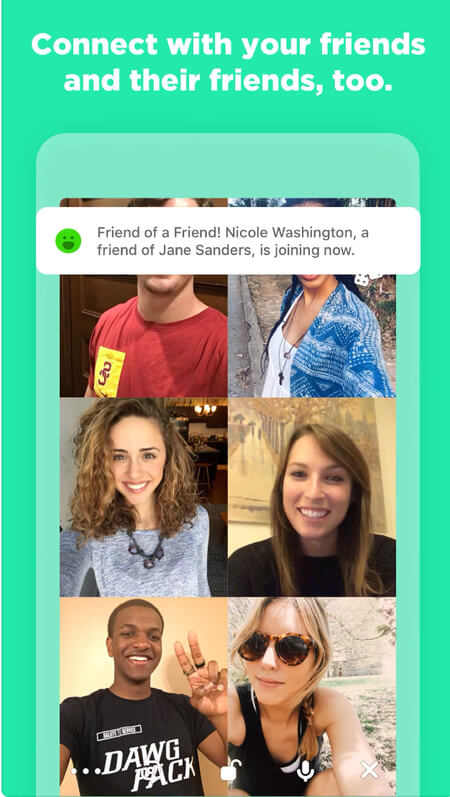 """Houseparty app screen shot: """"Connect with your friends and their friends, too."""""""