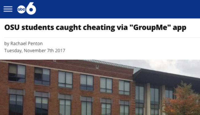 "ABC 6 headline: OSU students caught cheating via ""GroupMe"" app"
